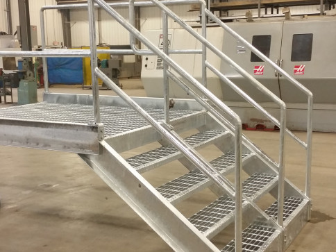 Hot Dipped Galvanized Steps fabricated to size for a local factory
