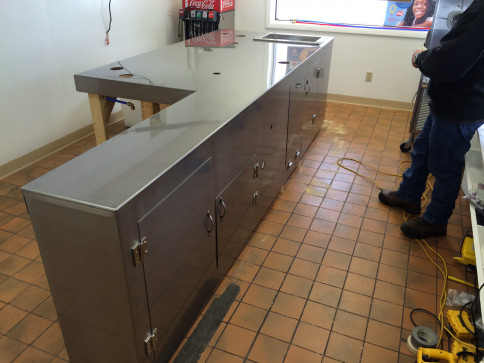 "52""W X 138""L X 36""H coutertop with cabinets 304 Stainless Steel made for the local Dairy Queen"